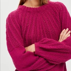 Topshop Pointelle Ball Sleeve Sweater 1753